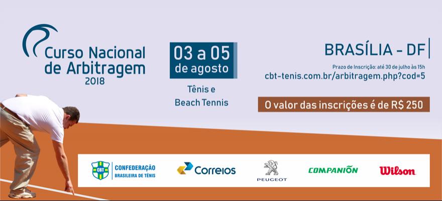 Brasília sediará Curso Nacional de Arbitragem de Tênis e Beach Tennis